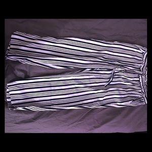 Drawstring pinstriped pants.